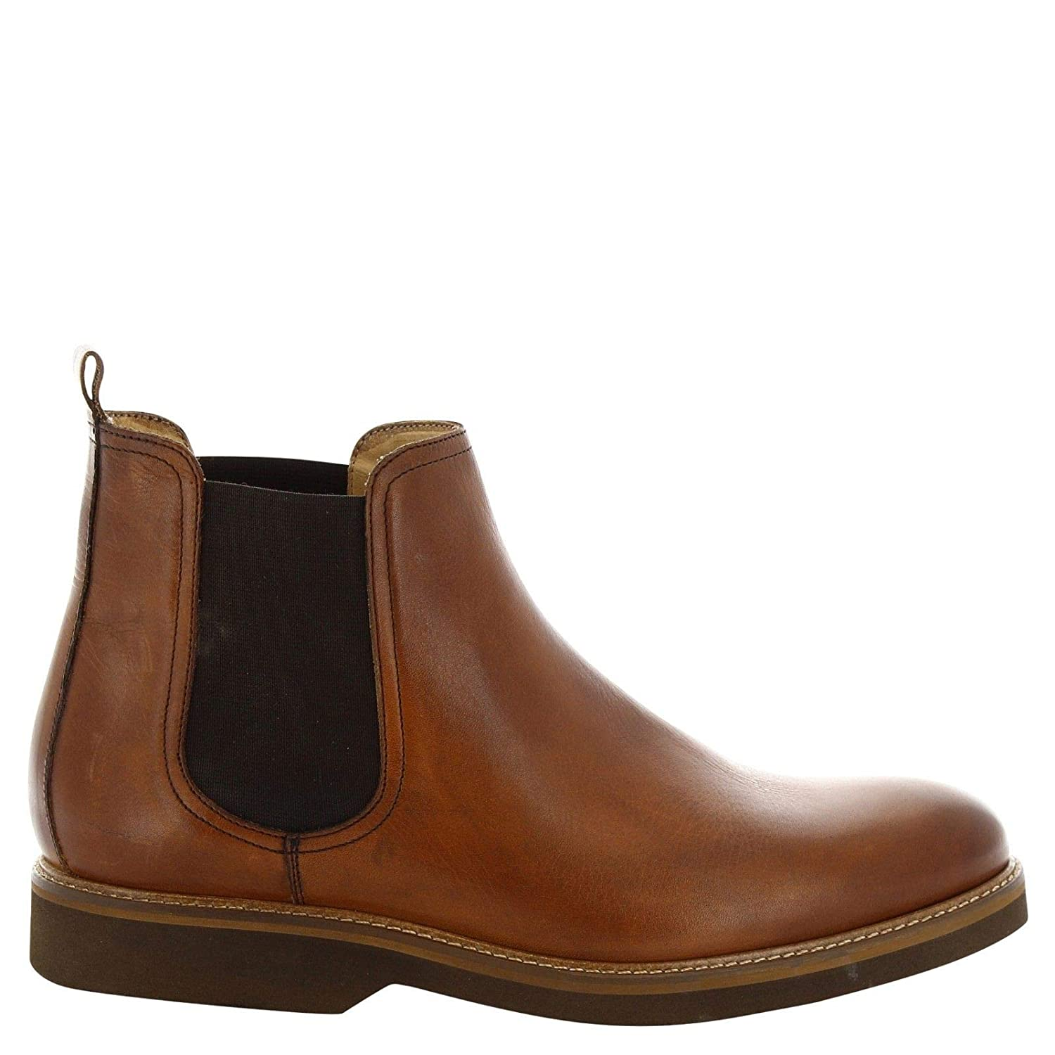 LEONARDO SHOES Mens 07235TAN Brown Leather Ankle Boots