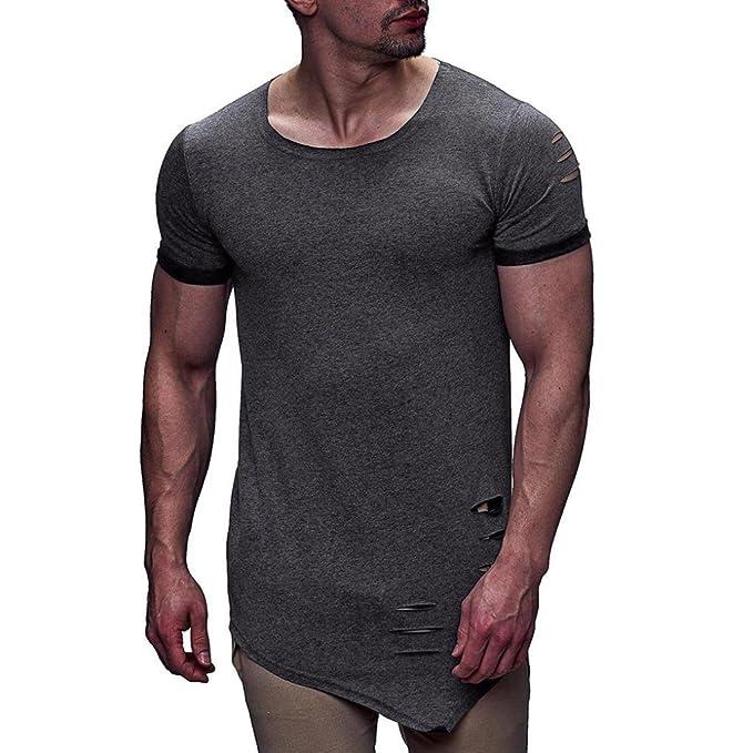 Camiseta para Hombre,RETUROM Camisa de Manga Corta Delgada Ocasional de la Camisa de Manga