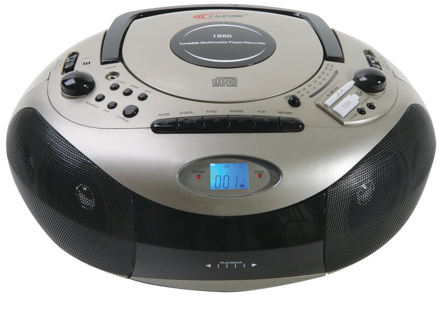 Califone 1886 Spirit SD Multimedia CD Player Cassette Recorder AM/FM Radio Boombox by Califone