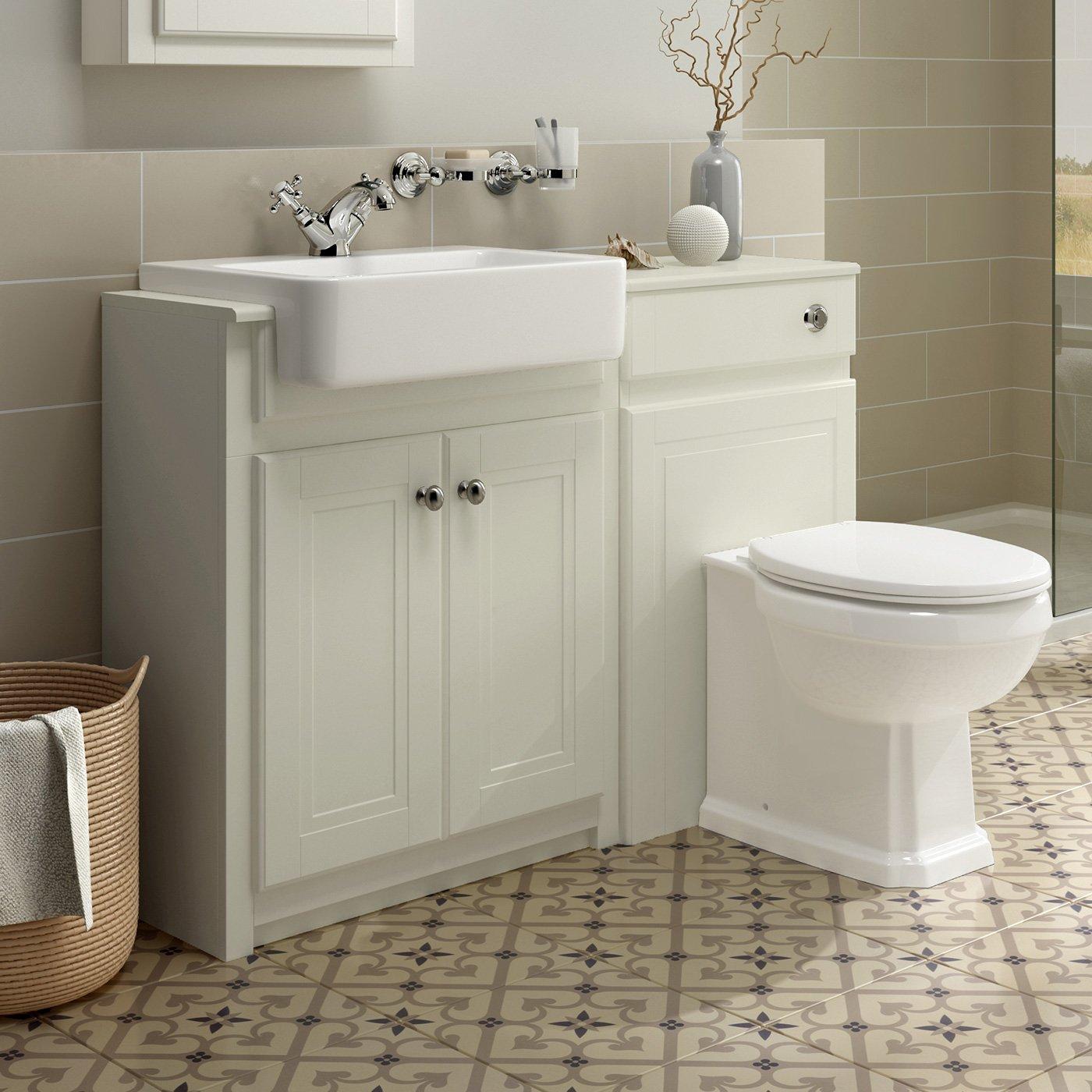 1167mm Combined Vanity Unit Toilet Basin Bathroom Furniture Storage