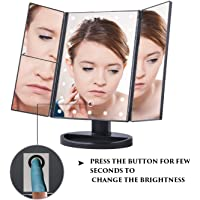 LDG WARE - BIGBRO Portable Tri-Fold Makeup Vanity Mirror with 22 LED Lights, Touch-Screen Light Control, 1 x 2X 3X Magnification Sections