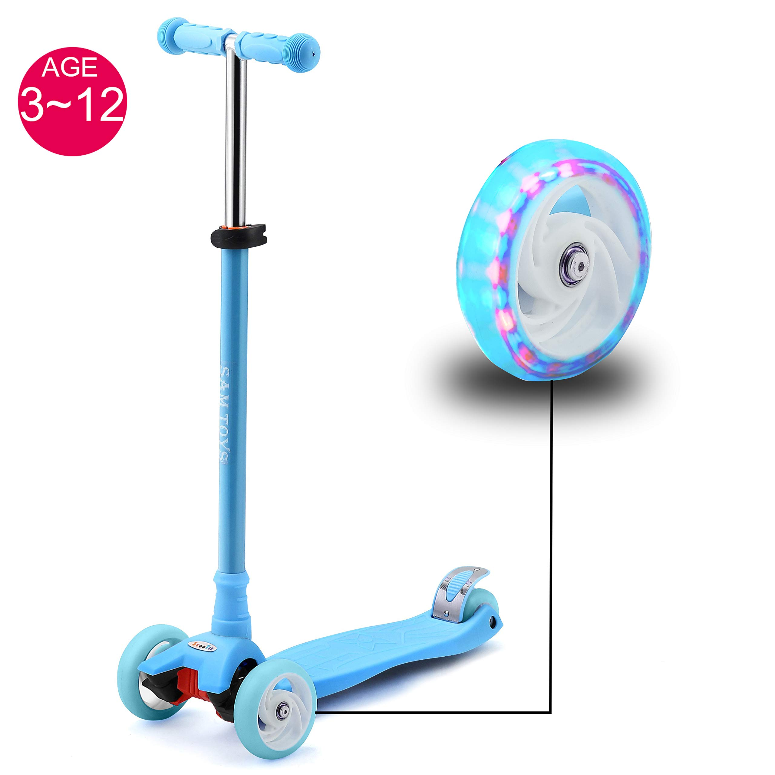 SAMTOYS Scooter for Kids - 3 Wheels Adjustable Kick Scooter with LED Light Up Jelly Wheels,for Girls Boys 3 to 12 Years Old (Blue)