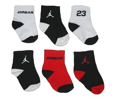 Nike bebé recién nacido calcetines negro, blanco, rojo, 6 pares, tamaño 12