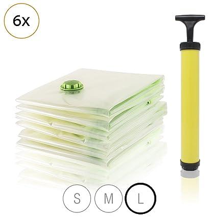 Amazy Bolsa de Vacio (6 bolsas | 80 x 120 cm) / Almacenaje hermetico al vacío para ahorrar espacio al guardar prendas de vestir, ropa de cama y otros ...