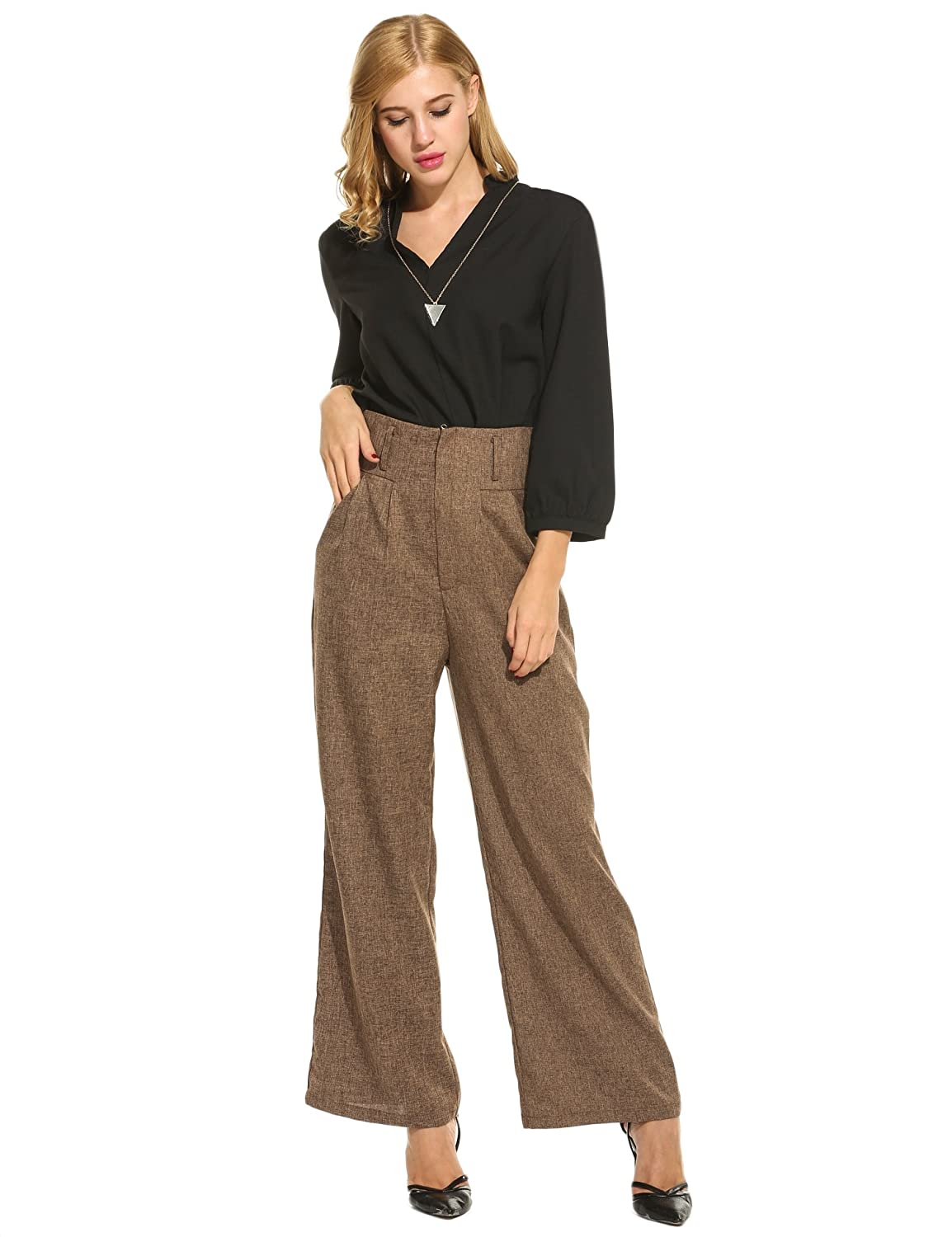 Vintage Wide Leg Pants 1920s to 1950s History Zeagoo Women Casual Superline Wide Flare Leg High Waist Zipper Solid Long Pants $25.99 AT vintagedancer.com