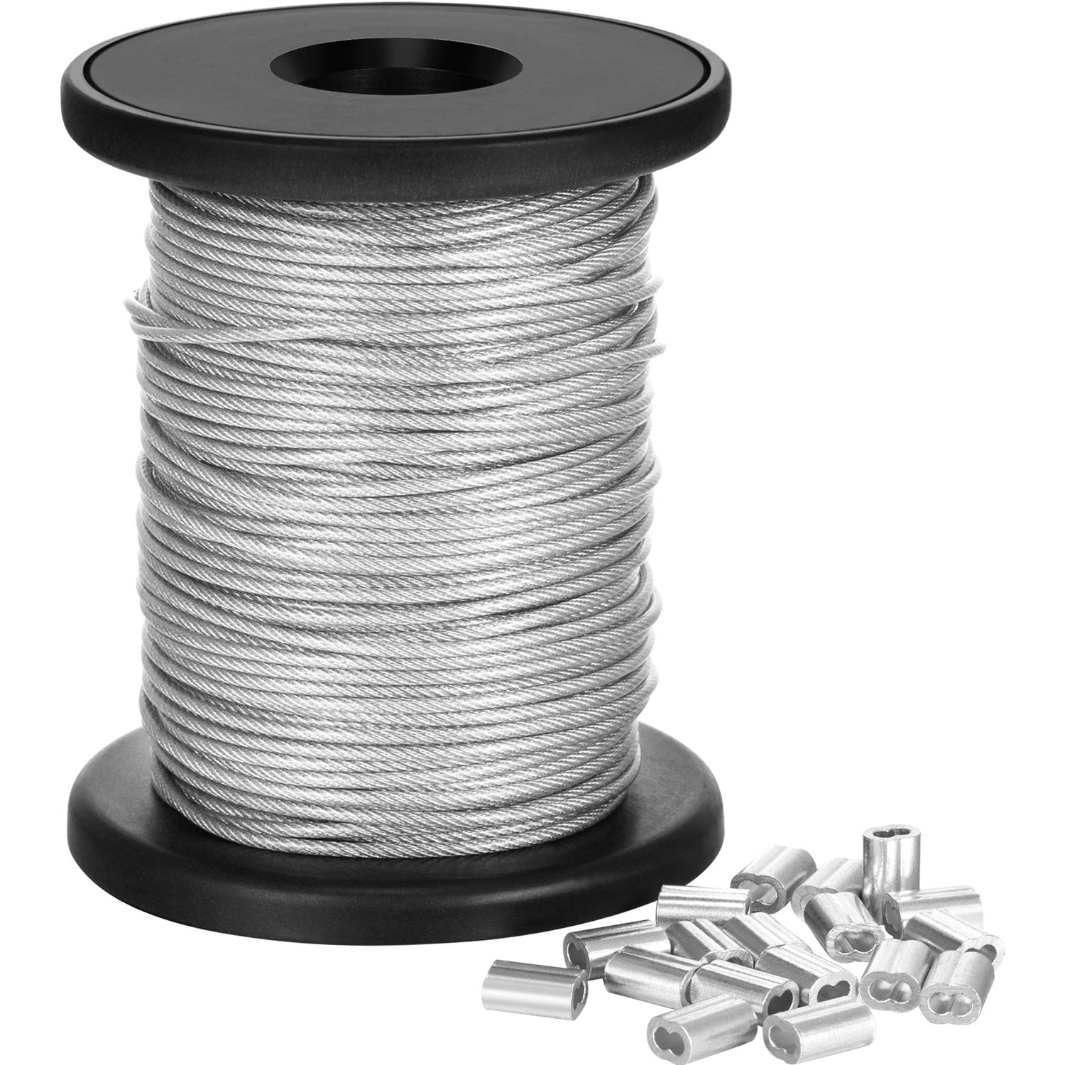 Chengu Vinyl Coated Picture Frame Hanging Wire, Stainless Steel Wire Spool with 20 Pieces Aluminum Crimping Loop Sleeve, Supports up to 110 Lbs (1.5 mm x 98 Feet) by Chengu (Image #1)