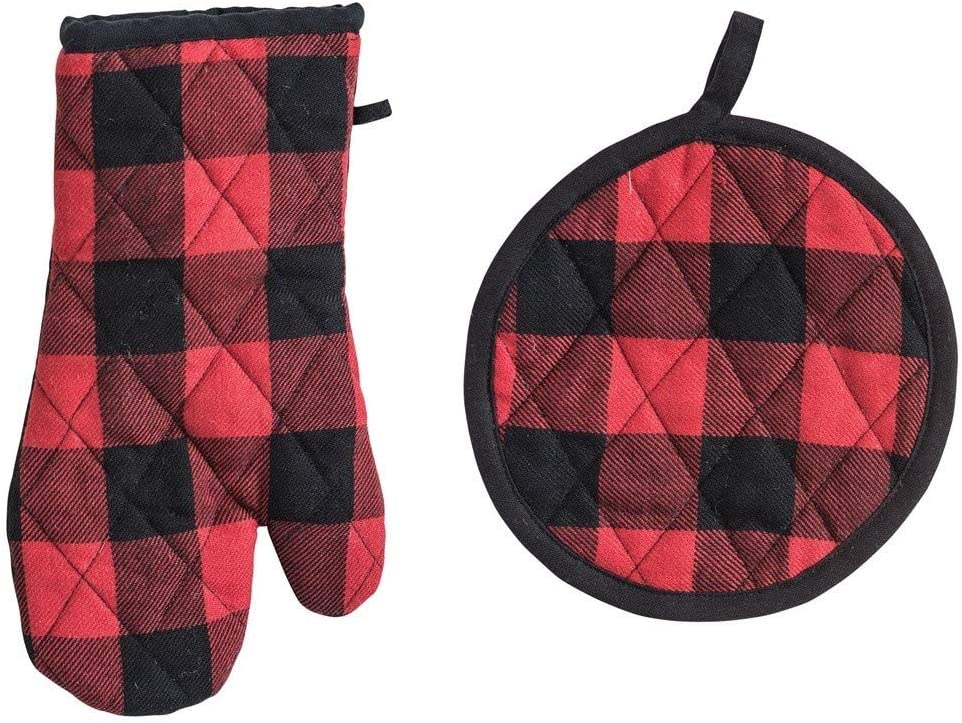 Creative Co-op Buffalo Plaid Cotton Oven Mitt & Pot Holder Set