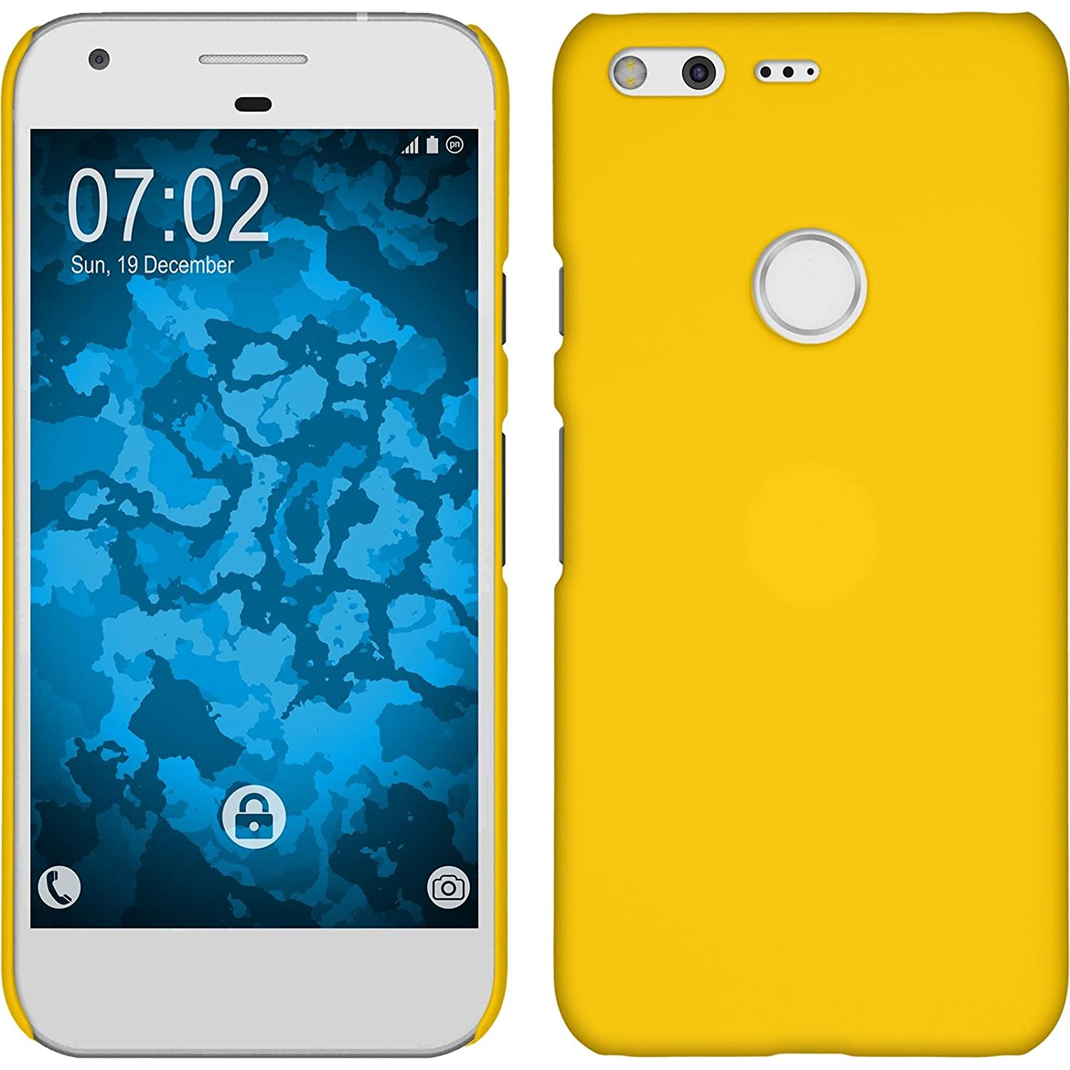 best service 5c0f2 76a61 PhoneNatic Hardcase Compatible with Google Pixel XL - Rubberized Yellow  Cover + Protective foils