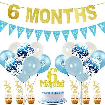 JOYMEMO 6 Meses de Decoraciones de cumpleaños para niño Gold ...