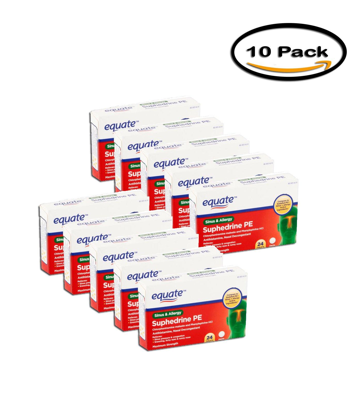 PACK OF 10 - Equate Suphedrine PE Sinus & Allergy Antihistamine/Nasal Decongestant Tablets, 24 ct by Equate