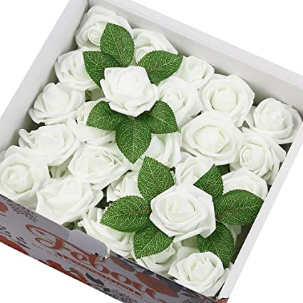 Amazon febou artificial flowers 100pcs real touch artificial febou artificial flowers 100pcs real touch artificial foam roses decoration diy for wedding bridesmaid bridal mightylinksfo