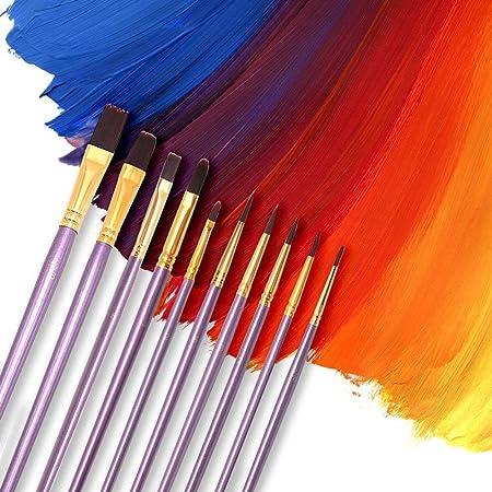 Pinceles de Punto de Artista,10 Pack Pinceles de Nylon Pincel de ...