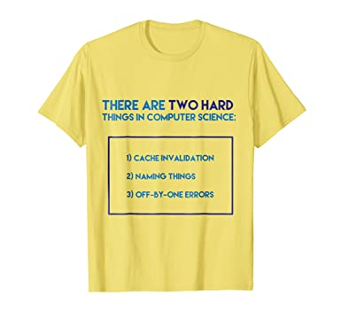 Amazon Com Two Hard Things In Computer Science Tee Funny Coder