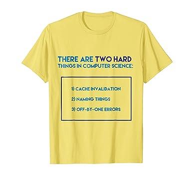 1b5de13a Mens Two Hard Things In Computer Science Tee - Funny Coder Shirt 2XL Lemon