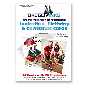 20 print your own personalised greeting cards a4 folded to a5 210gsm with envelopes