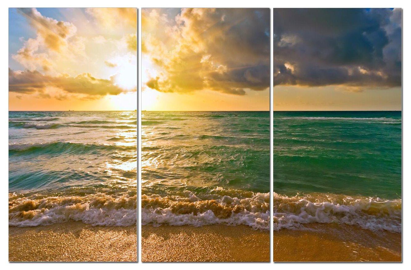 Canvas Wall Art Decor - 12x24 3 Piece Set (Total 24x36 inch) Coastal Water Ocean Sea - Decorative & Modern Multi Panel Split Canvas Prints for Dining & Living Room, Kitchen, Bedroom, Bathroom & Office