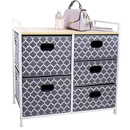 Wide Dresser Storage Tower 5 Drawer Chest, Sturdy Steel Frame, Wood Top, Easy Pull Fabric Bins,Organizer Unit for Bedroom, Playroom, Entryway, ...