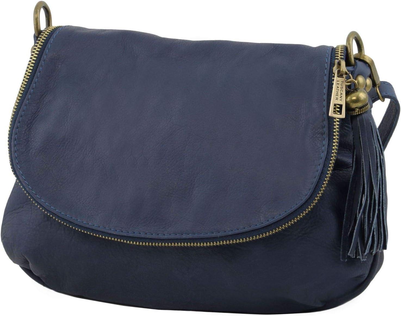 Tuscany Leather TLBag Sac bandouli/ère en Cuir Souple Bleu fonc/é