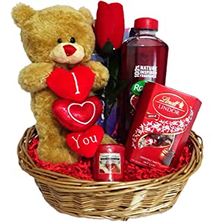 Valentines Gift Basket Hamper For Girlfriend Wife Fiance Standing Bear