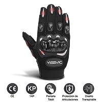 YISSVIC Guantes de Motos con Pantalla Táctil Guantes Moto Invierno Guantes Motocross de Dedo Completo Talla L Color Negro y Rojo