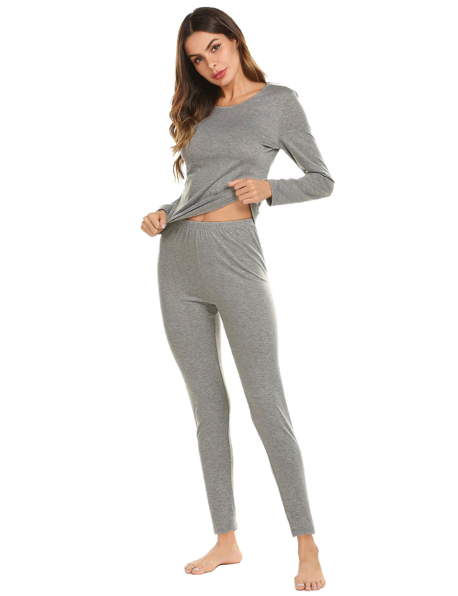Ekouaer Thermal Underwear for Women,Long Johns Thermals Winter Base Layer Set S-XXXL
