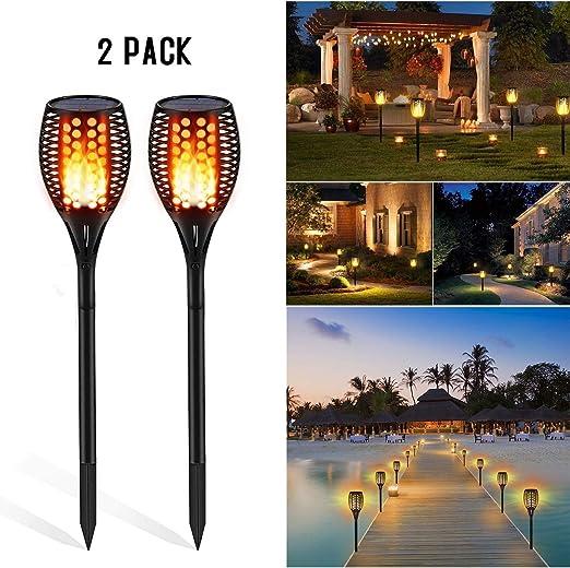 Luces solares de jardín Iluminación de senderos A prueba de agua similar a una llama para jardín al aire libre Patio Patio Calzada Antorcha Iluminación Festival Fiesta de bodas Ambiente Decoración: Amazon.es:
