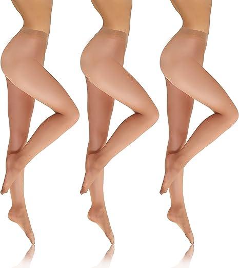Image of Sesto Senso Medias Transparentes Mujer 8 Den Pack de 1 o 3 Invisibles Semi Mate Pantimedias