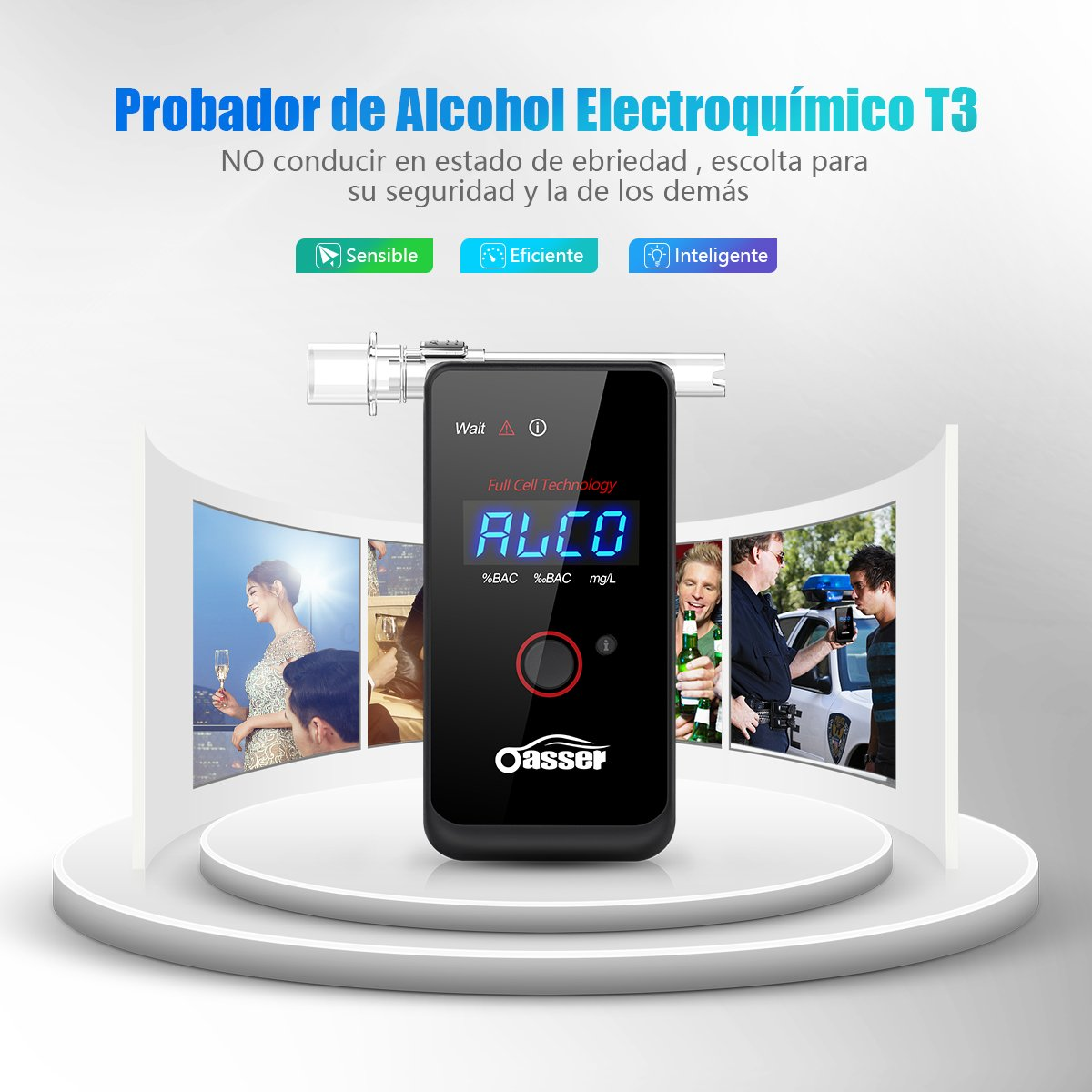 Coche y moto oasser Alcoholímetro Profesional Electroquímico Respiratorio de Recargable Digital Pantalla LED Incluye Batería de Litio & 4 Boquillas Desechables FDA T3