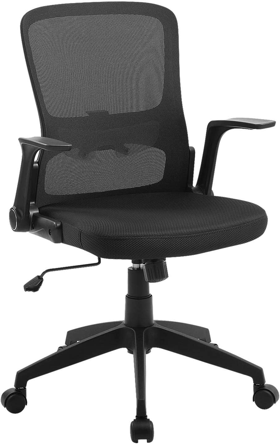 Office Chair Ergonomic Desk Chair Mid Back Swivel Mesh Computer Chair Adjustable Stool Rolling Home Office Chair with Flip up Arms Adjustable Lumbar Support 300lbs-Black