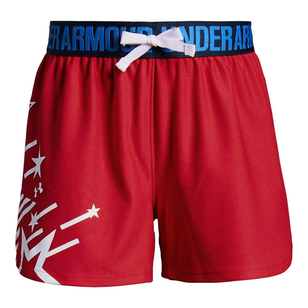 Under Armour Girls Americana Play Up Shorts, Pierce /White, Youth Small