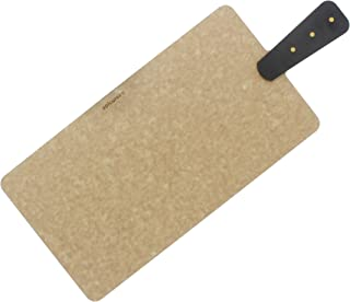 """product image for Epicurean Cutting and Serving Board with Brass Riveted Handle, 14"""" by 7.5"""", Natural/Slate"""