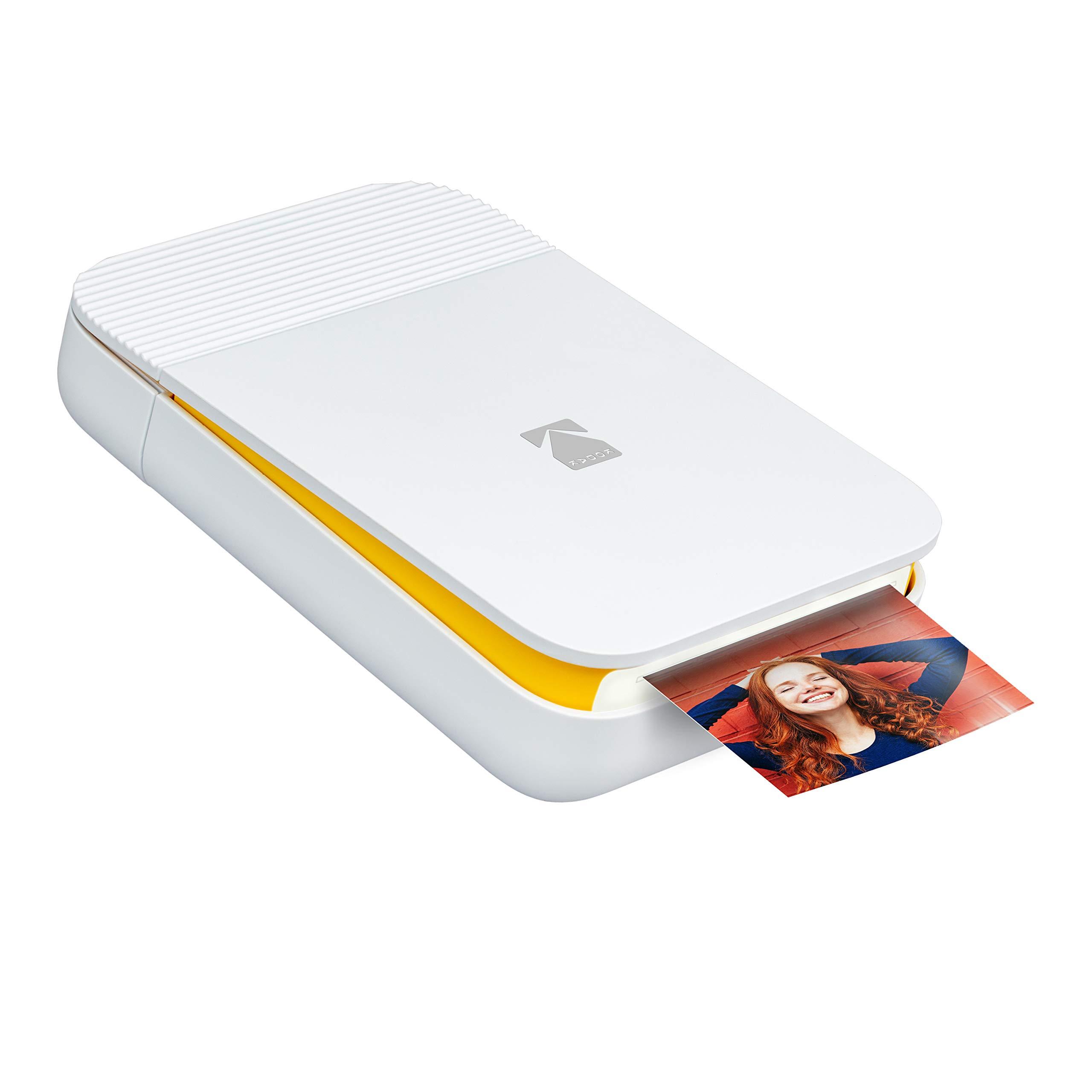 KODAK Smile Instant Digital Printer - Pop-Open Bluetooth Mini Printer for iPhone & Android - Edit, Print & Share 2x3 Zink Photos w/Free Smile App - White/Yellow