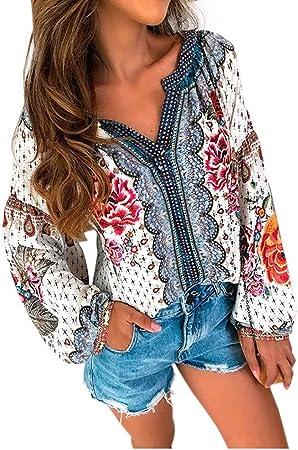 RENJIANFENG Blusas Boho para Mujer Estampado Floral Gasa Cuello En V Camisas De Manga Larga Casual Blusas Sueltas De Longitud Media Tops,Rojo,XL: Amazon.es: Hogar