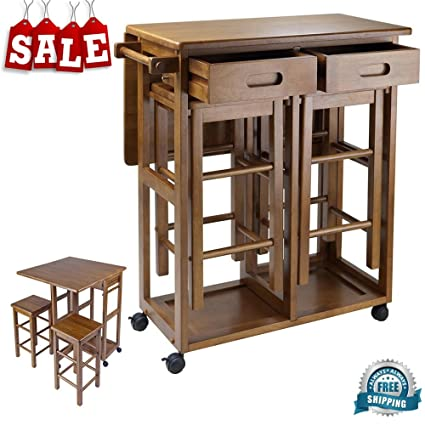 Counter Height Folding Table With Stools U0026 Drawers Wooden Teak Finish Bar  Cart Flip Up