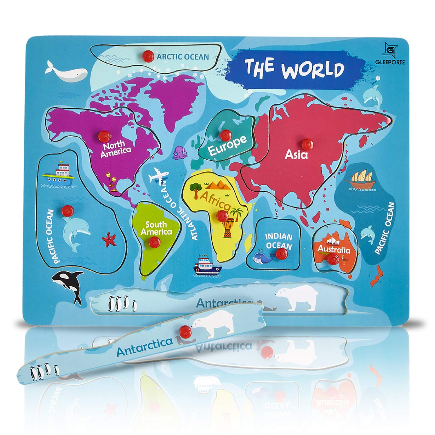 Gleeporte Wooden Peg Puzzle, World Map Theme - Learning Educational Pegged  Puzzle for Toddler & Kids - 7 Continents & 4 Oceans (11 pcs)