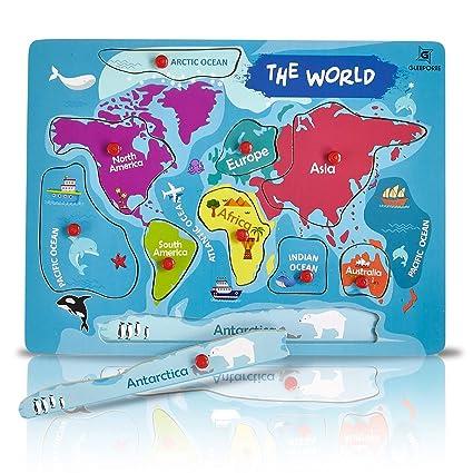 Amazon.com: Gleeporte Wooden Peg Puzzle, World Map Theme - Learning ...