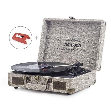 Tocadiscos Vinilo, ammoon Tocadiscos Vintage Blue Tooth de 3 Velocidades con Altavoces Incorporados, Puerto USB, Salida de SD/AUX/RCA, Conector de ...