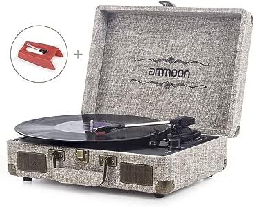 Tocadiscos Vinilo, ammoon Tocadiscos Vintage Blue Tooth de 3 ...
