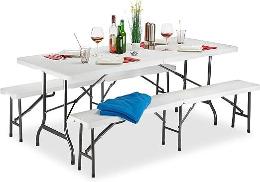Relaxdays Conjunto Mesa y Bancos Jardín Plegables, Plástico, Blanco, 74 x 180 x 74.5 cm: Amazon.es: Jardín