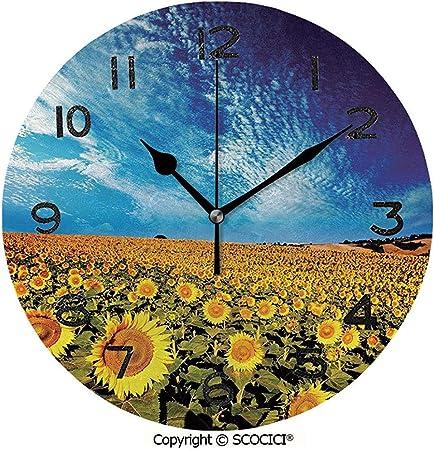 L.Fenn Reloj Redondo Exposición Foto Campo De Girasol Jardín con Horizonte Imagen De Verano Naturaleza Reloj De Pared Único: para Uso En Sala De Estar, Dormitorio O Cocina: Amazon.es: Hogar