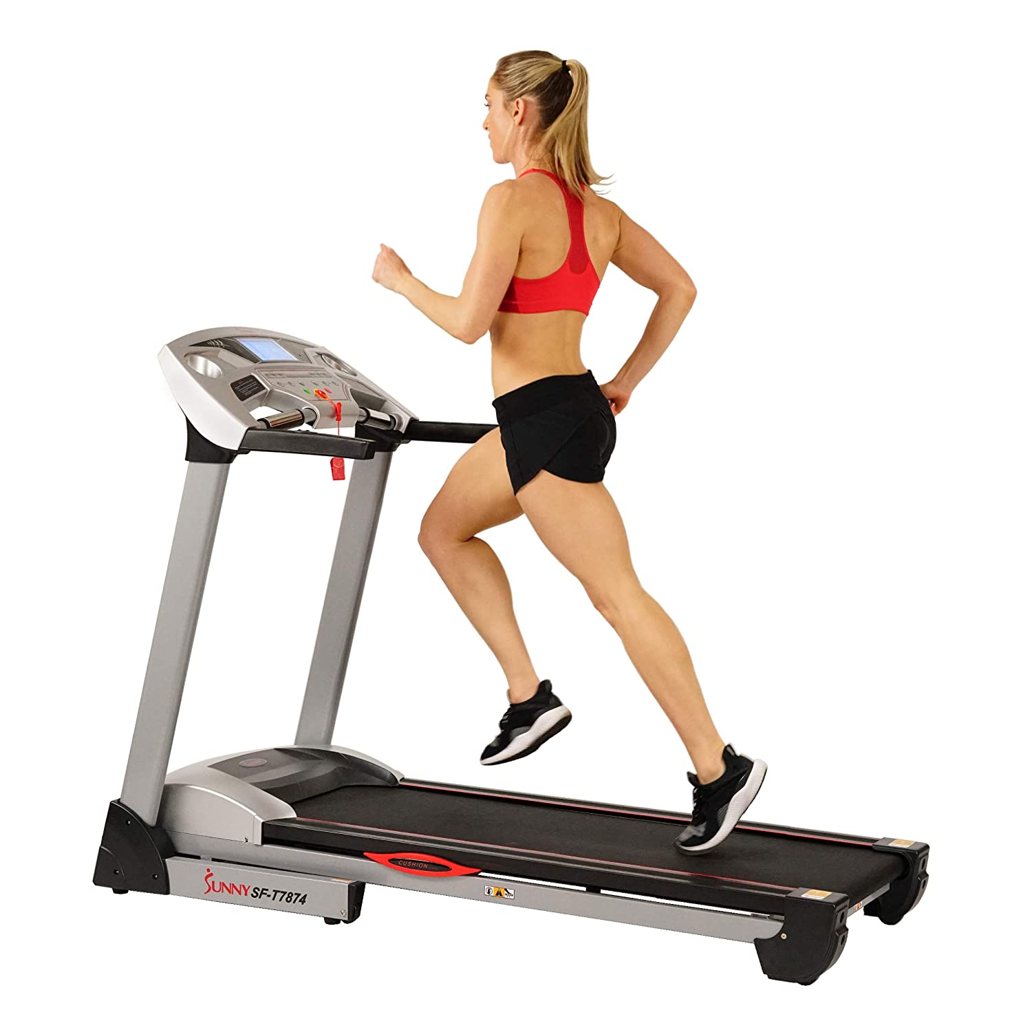 Sunny Health & Fitness Electric Treadmill with 11 MPH Max Speed, Integrated Speakers, Body Fat Calculator, USB Ports, Auto Incline, Pulse Monitor and 285 LB Max Weight
