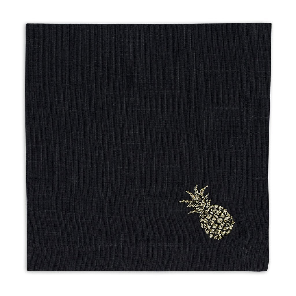 Heart of America Black & Gold Pineapple Embroidered Napkin - 6 Pieces