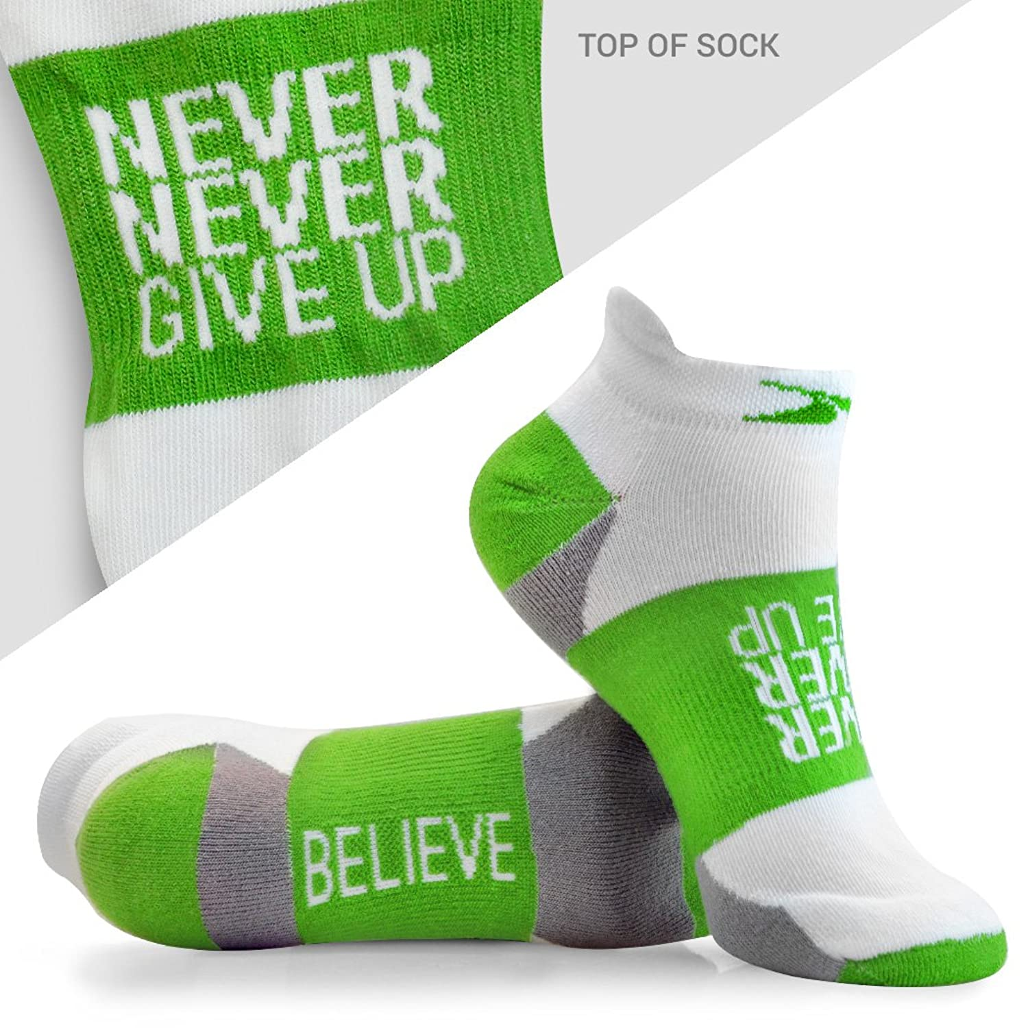 Gone For a RUN Good Karma Inspirational Athletic Running Socks - One Size Fits Most - Set of 3 Pairs - Multicolored
