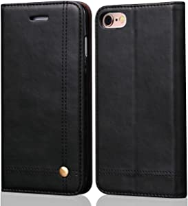 iPhone 6S Plus Case iPhone 6 Plus Case, SINIANL Leather Case Flip Folio Book Case Wallet Cover with Card Slots & ID Holder Kickstand Feature and Magnetic Closure for iPhone 6 Plus / 6S Plus Black