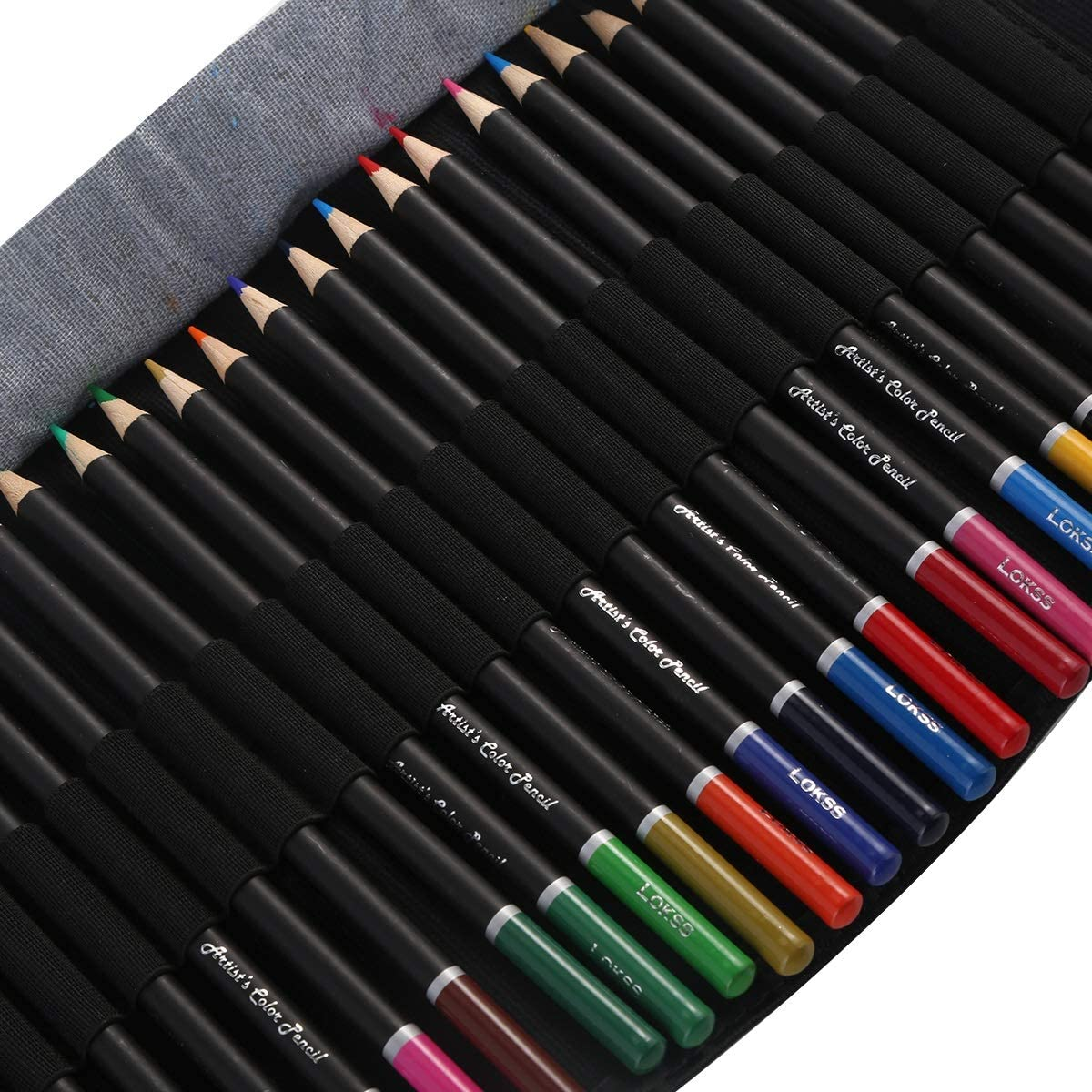 DEALPEAK 36 Color Pencils Colored Pencils Set with Case Sharpener and Nylon Wrapper Coloring Supplies for Art Drawing