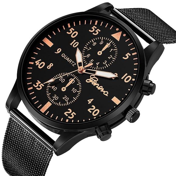 Relojes Hombre,❤LMMVP❤Hombres moda deporte acero inoxidable caso de cuero banda de cuarzo analógico reloj de pulsera (1 PC, C): Amazon.es: Relojes