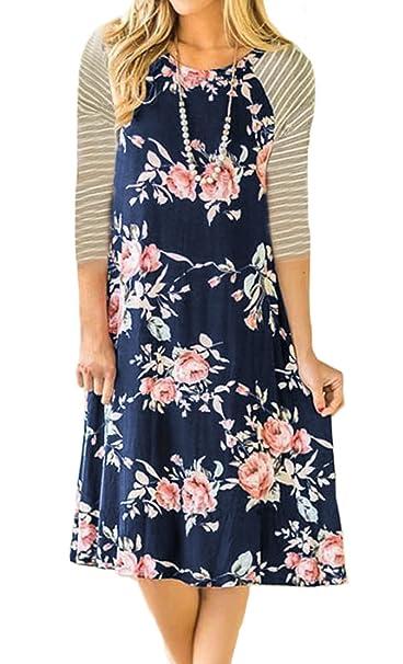 6cd5609e1dc8 BLUETIME Bohemian Clothing Women Floral Striped Short Sleeve Summer Beach  Tshirt Dresses Navy Blue S at Amazon Women's Clothing store: