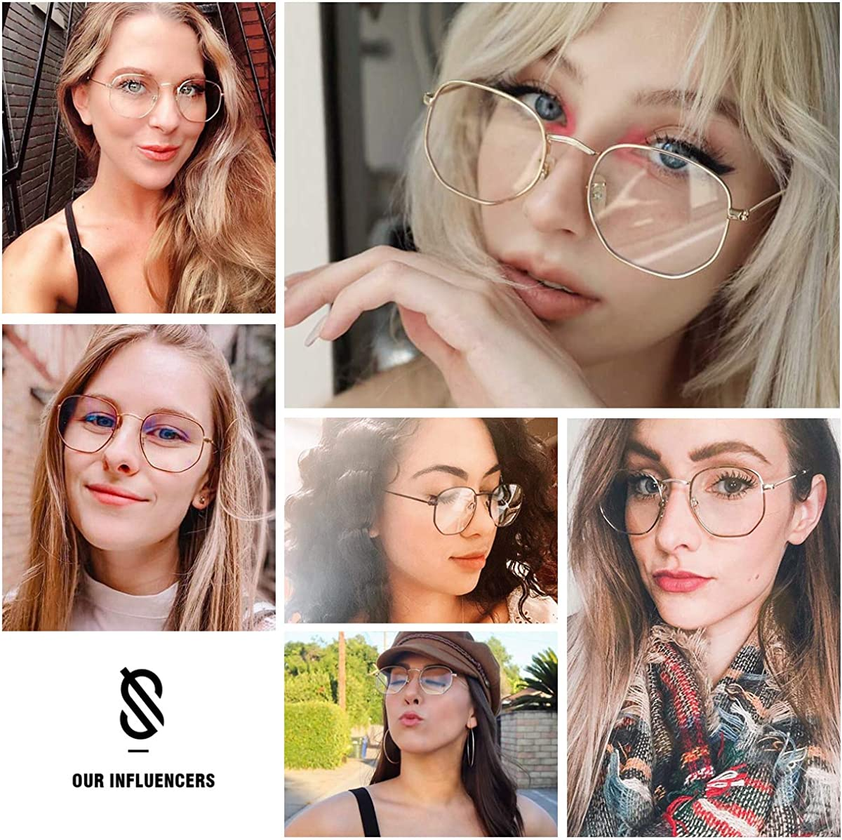 SOJOS Small Blue Light Blocking Glasses Hexagonal Eyeglasses Frame Anti Blue Ray Glasses One and Only SJ5036