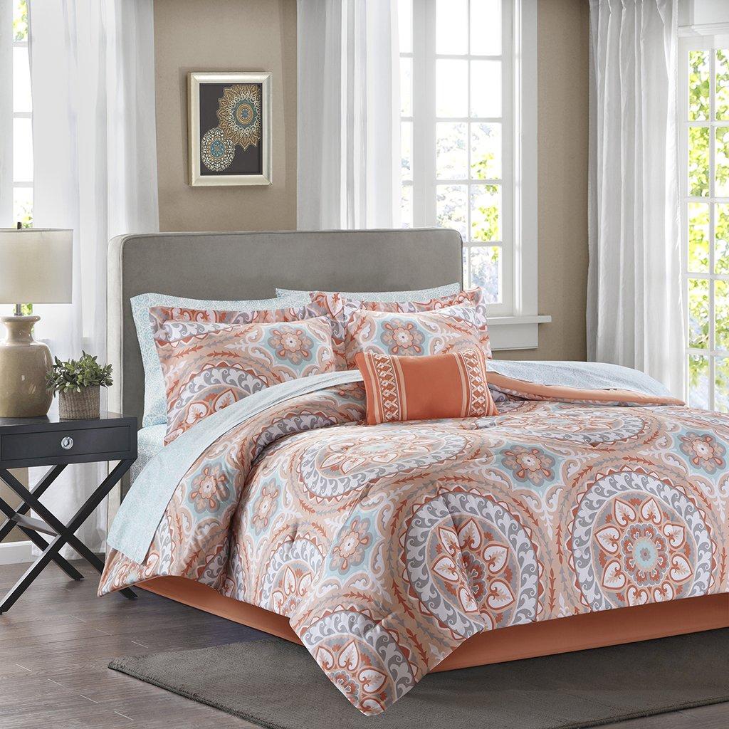 Madison Park Essentials Serenity Cal King Size Bed Comforter Set Bed in A Bag - Coral, Medallion – 9 Pieces Bedding Sets – Ultra Soft Microfiber Bedroom Comforters