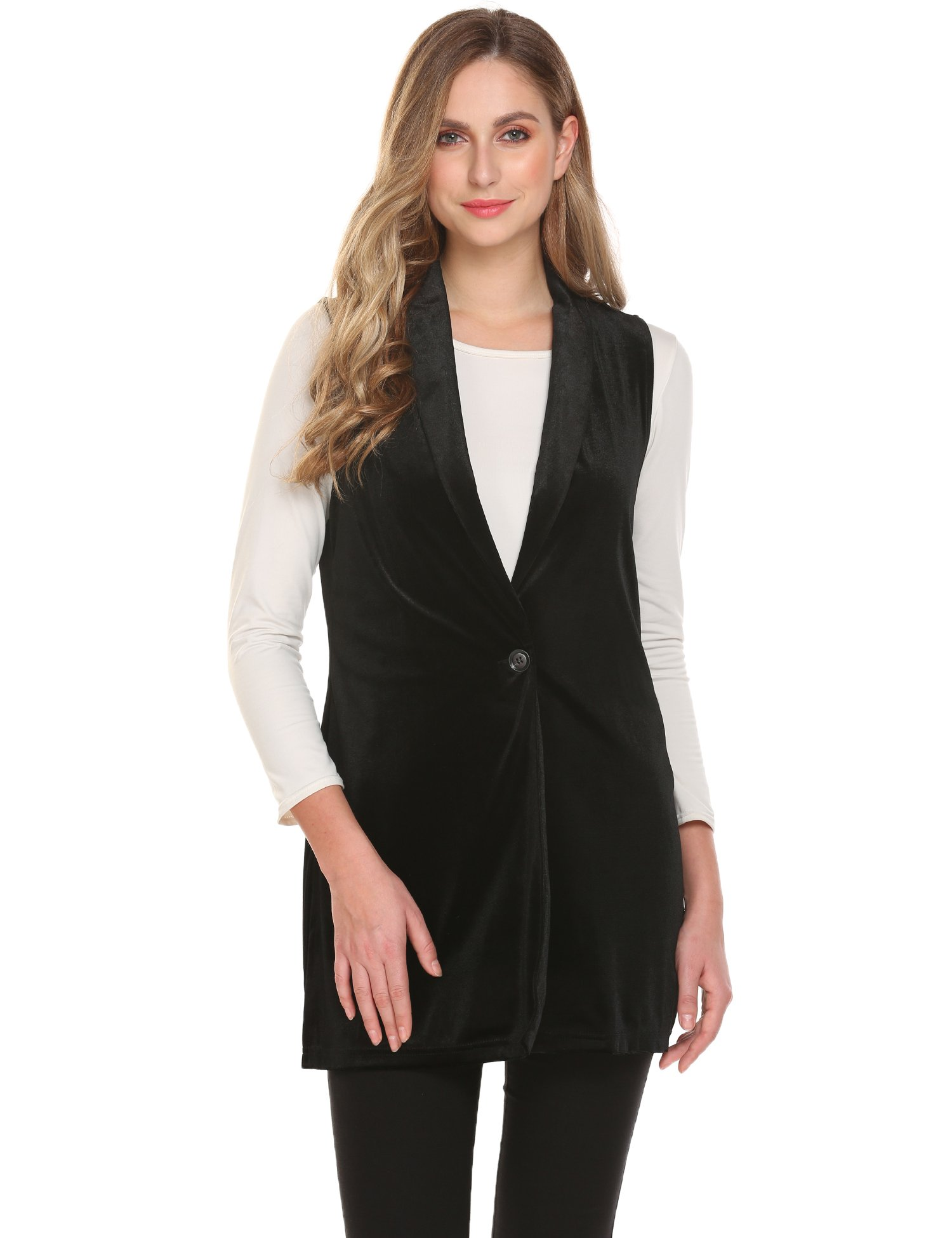 Zeagoo Long Duster Blazer Women's British Style Sleeveless Trench Vest Cardigan Pluse Size Black
